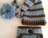 Newborn elf hat.. Matching diaper cover.. Photography prop.. Ready to ship... Country blue and brown