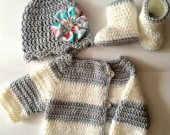 Newborn Sweater set... New baby crochet sweater set... Baby shower gift... Beanie and booties