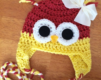 Newborn owl hat.. Photography prop.. Ready to ship
