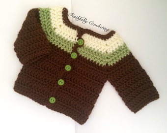 Newborn Sweater.. Sweater coat.. Ready to ship   Chocolate and light green