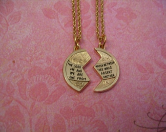 2 Religious Necklace Set Mizpah Necklaces for Mother Daughter Sisters or Friends