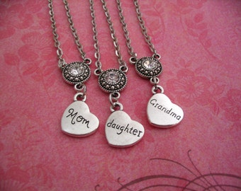Mom Daughter Grandma Necklaces  Heart Jewelry Gift