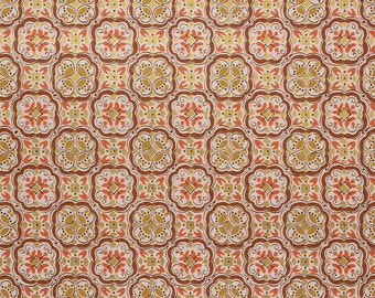 1970s Vintage Wallpaper Retro Burnt Orange Avocado Green Brown Geometric by the Yard