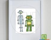 ROBOT Art, Modern Nursery Art, playroom decor, 8 x 10 art print