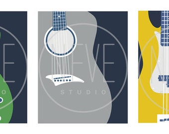 Modern Guitar Wall Art, music room decor, set of 3, 13 x 19 art prints - available in different sizes and colors