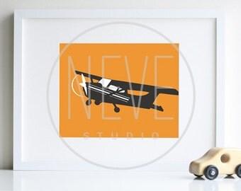 Airplane PRINT, minimalist AVIATION decor, Grey and Orange - SALE
