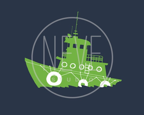 Nautical Nursery, vintage tugboat silhouette 13 x 19 print - different colors and sizes available