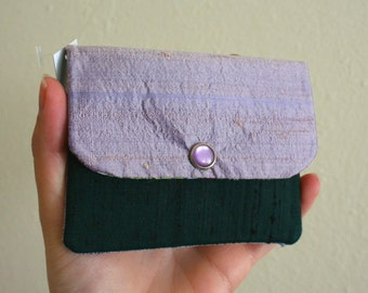 Lavender and Dark Green Dupioni Silk - Cash and Card Wallet with Zipper