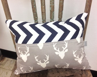 Pillow, deer pillow, throw pillow, chevron pillow, small pillow, decorative pillow, chair pillow, accent pillow, rustic pillow, navy chevron