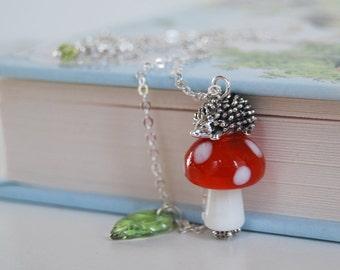 Hedgehog on a Mushroom Necklace   Cute Hedgehog Charm Necklace   Toadstool Forest Necklace   Silver Hedgehog Pendant