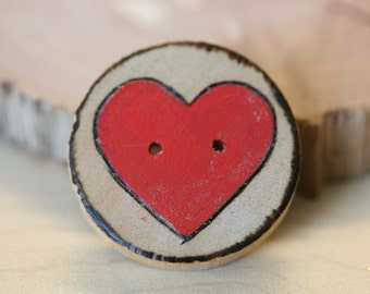2 BIG RED HEART wood burned wooden button for crochet, knit ware, and crafts