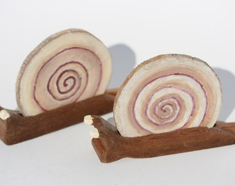 Set of 2 Handmade and Handpainted SNAIL COASTERS