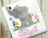 Springtime Elephant Girls Shirt- Baby Elephant Girls Shirt- Custom Baby Elephant Shirt- Girls Custom Spring Elephant Shirt