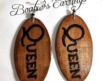 Queen (Woodstained) Earrings
