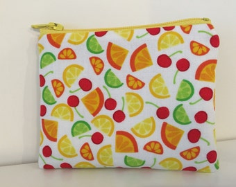 Citrus & Cherries Coin Purse - Cotton Change Purse - Small Zipper Pouch