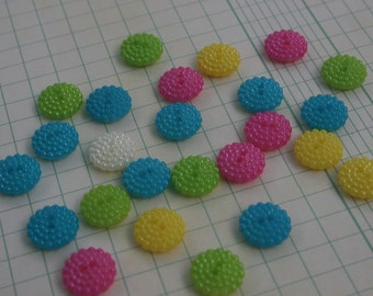 """Pastel Buttons - Assorted Colors Pink Teal White Green Buttons - Resin Sewing Button - 5/8"""" Wide - 25 Buttons"""