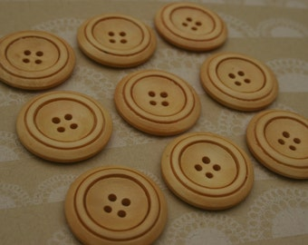 "Light Wood Buttons - Large Wooden Sewing Button Double Rim - 1 3/16"" - 9 Buttons"