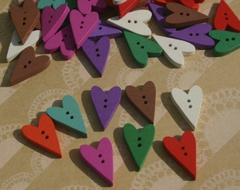 "Wood Heart Buttons - Painted Colorful Wooden Heart Button - Bulk Buttons - 1"" - 50 Buttons"