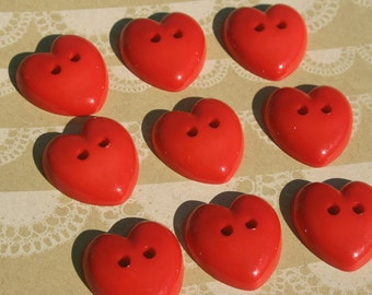 "Chunky Red Heart Buttons - Bulk Buttons Sewing Hearts - 1"" - 9 Buttons"