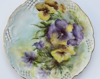 """Hand Painted Porcelain China Floral Plate 8 1/2 """" - pansies, decorative plate, home decor, purple pansies, yellow pansies"""