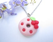 Raspberry Donut Necklace - food jewelry , food necklace