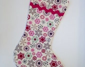 Pink and Cream Snowflake Christmas Stocking with Pink Lining