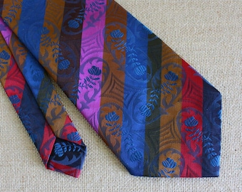 Vintage Men's Necktie - Striped Floral Pattern