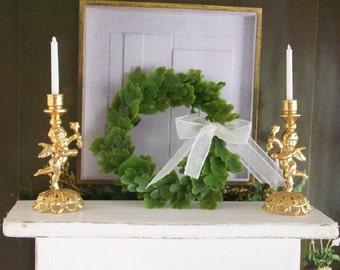Green Wreath Round Leaves White Bow 1:12 Dollhouse Miniature Artisan