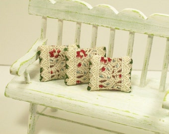 Green Maroon Pillow Set Off White 1:12 Dollhouse Miniatures Artisan