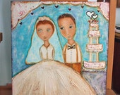 Wedding Portrait  -  Original Painting  12 x 12 inches Panel Canvas on Wood - By FLOR LARIOS