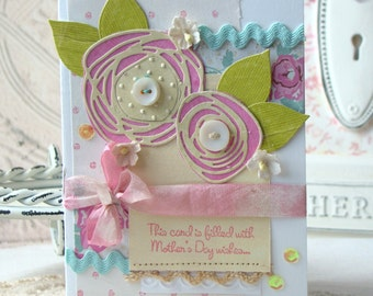 Mother's Day Wishes Shabby Chic Handmade card
