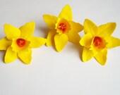 3 Yellow Daffodil flowers, paper daffodils, wedding decoration, party decoration, artifical flowers, paper flowers, table decoration,flowers