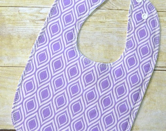 Violet Purple Geo Drooler Bib - Snap - Non wicking fleece back - Middle layer Organic cotton