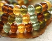 BEACH GLASS No. 2 .. 25 Premium Czech Rondelle Beads 6x9mm (4420-st)