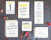 Preppy Stripes Wedding Invitation in Yellow Green and Gray or Custom colors-- DIY or Printed for you