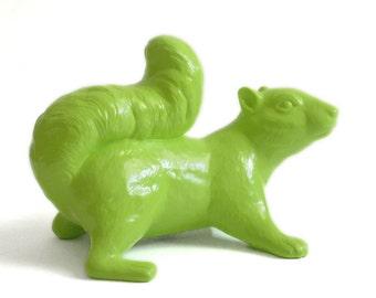 Ceramic Squirrel, Climbing, Key Lime, Indoor/Outdoor Art Sculpture, Garden Ornament, Figurine,