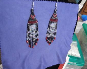 Skull & Cross Bones Beaded Earrings