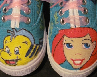 Little Mermaid, Ariel and Flounder hand painted shoes