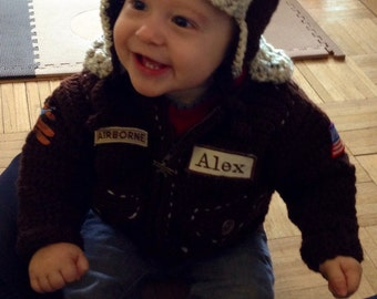 Air Force Bomber Baby Jacket Personalized with Aviator Hat Newborn to toddler