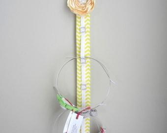 Headband Holder, Headband Organizer, Yellow & White, Satin Flower Hair Accessory Organizer, Hair Accessories, Bathroom Organizer
