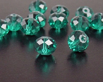 Glass Bead 12 Emerald Green'ish Blue Rondelle Faceted 10mm x 7mm (1014gla10g2)