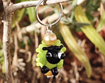 Lime Green Sheep or Lamb Stitch Marker Charm