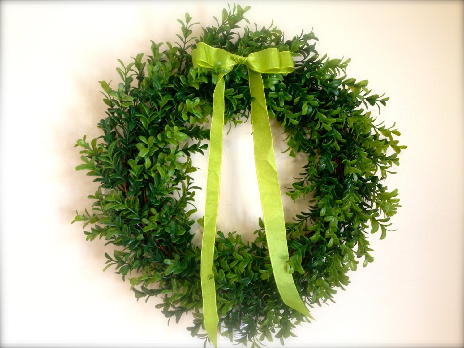 16 artificial boxwood wreath for spring or by thelaurencollection
