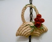 Straw Basket and Winding Roses Brooch