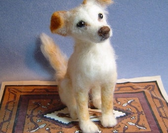 Custom dog  Portrait Sculpture needle felted pet statue memorial
