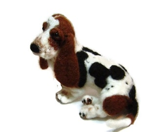 Felted dog custom sculpture Basset Hound pet portrait art made to order pets memorial