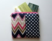 Small Zipper Bag, Pink, Navy and Gold Chevron, Navy Dots Coin Purse, Credit Card Bag, Gift Card Holder