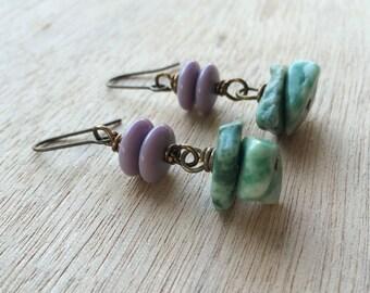 E483 Green and Lavender Dangle Earrings