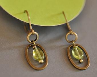 Peridot gem oval earrings
