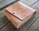 Blank Hand Dyed Tan Rustic Hand Embossed Leather Journal, Follow Your Dreams Tan Leather Sketchbook Snap Closure, Leather Wedding Guest Book